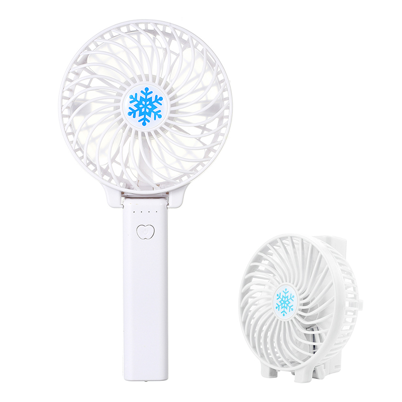 Handheld Mini USB Fan Built-in Battery Foldable Portable Desktop Table Cooler - White