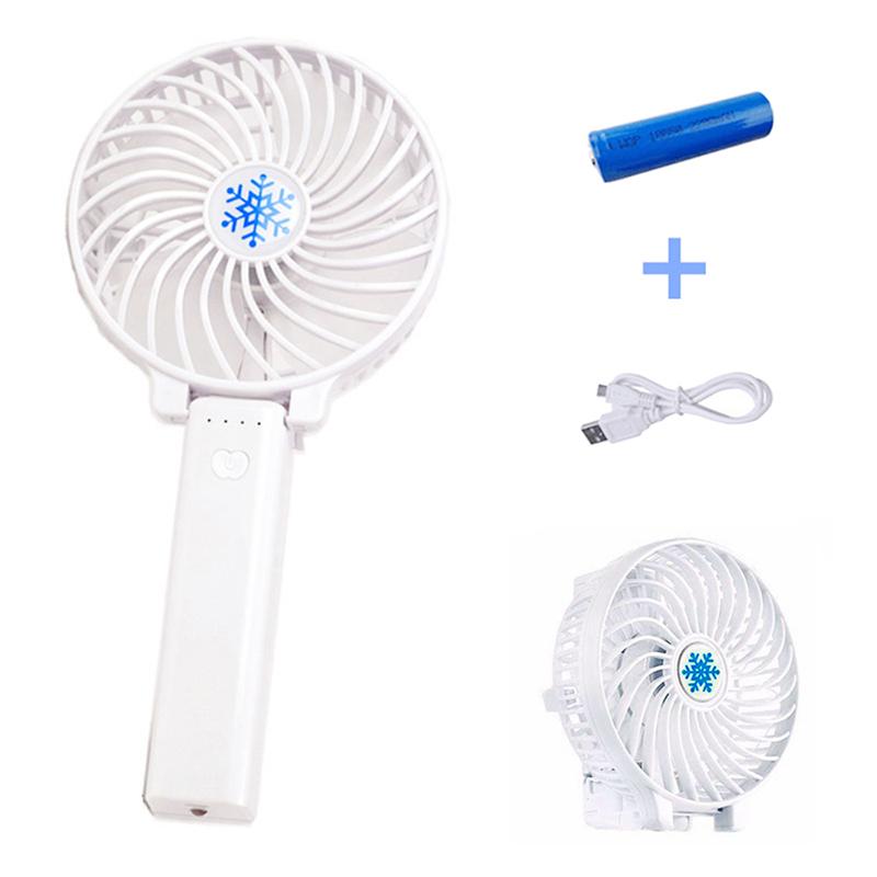 Handheld Mini USB Fan Built-in Battery Foldable Portable Desktop Table Cooler - White