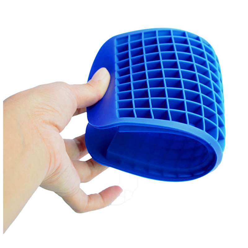 Silicone 160 Grids Cavity Mini Square Ice Cube Tray Maker Mold - Blue