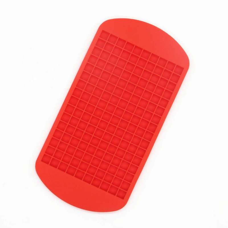 Silicone 160 Grids Cavity Mini Square Ice Cube Tray Maker Mold - Red