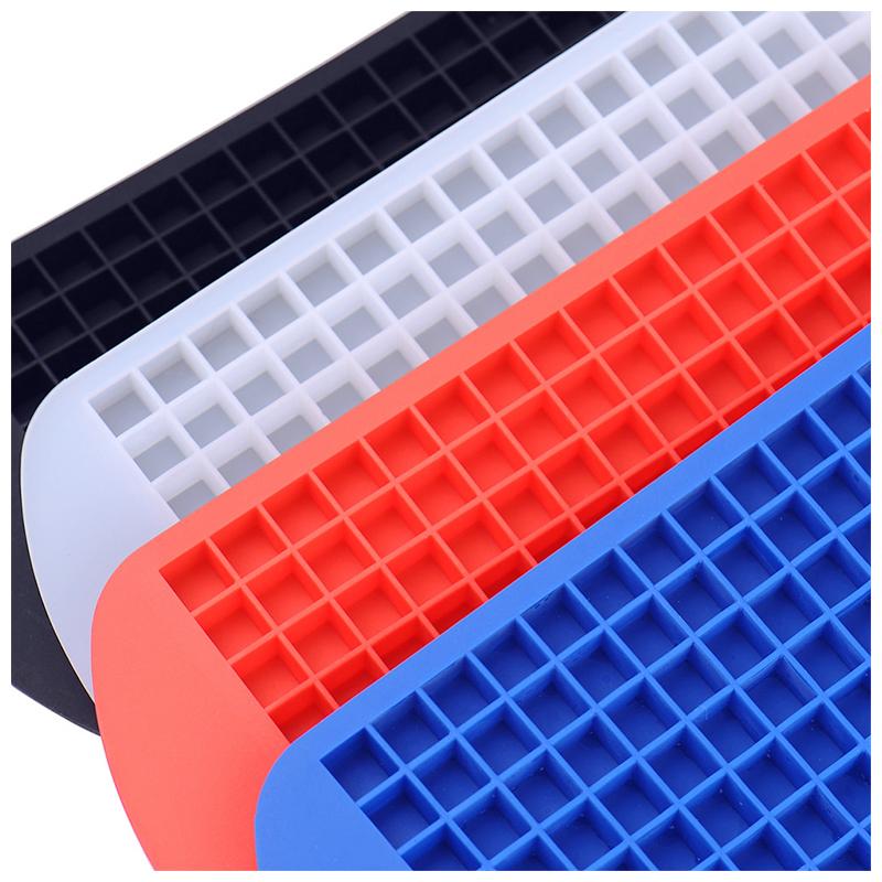 Silicone 160 Grids Cavity Mini Square Ice Cube Tray Maker Mold - Red