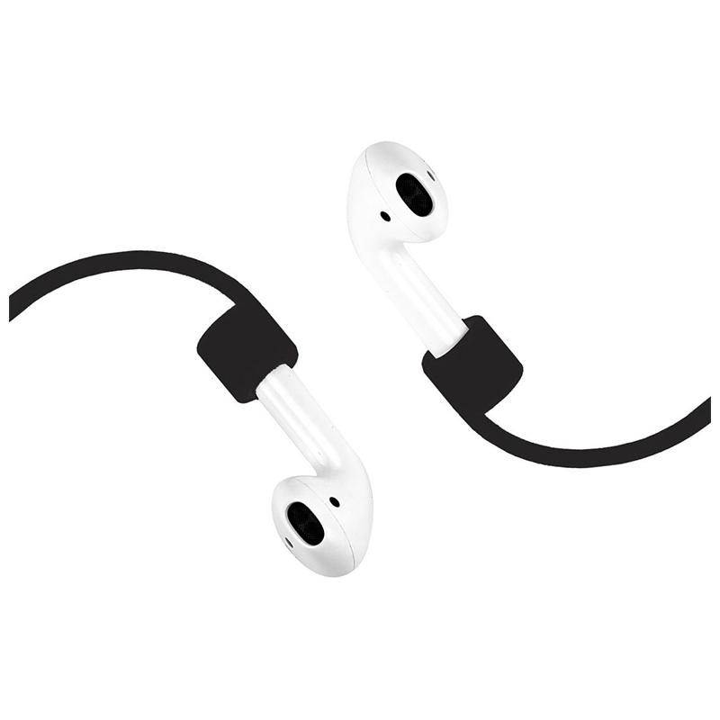 70CM AirPods Silicone Strap Bluetooth Earphone Anti-lost Loop String Rope Connector - Black