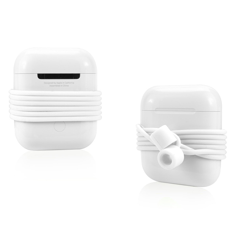 70CM AirPods Silicone Strap Bluetooth Earphone Anti-lost Loop String Rope Connector - White