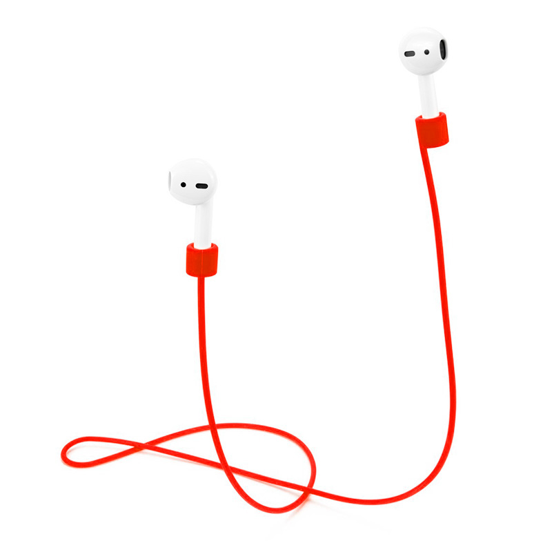 70CM AirPods Silicone Strap Bluetooth Earphone Anti-lost Loop String Rope Connector - Red