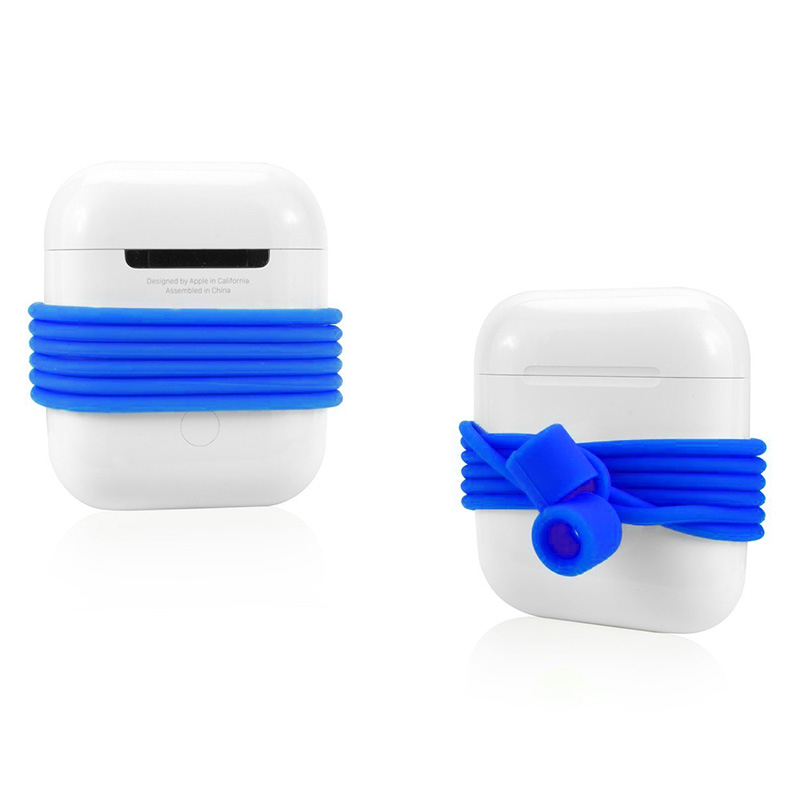 70CM AirPods Silicone Strap Bluetooth Earphone Anti-lost Loop String Rope Connector - Blue