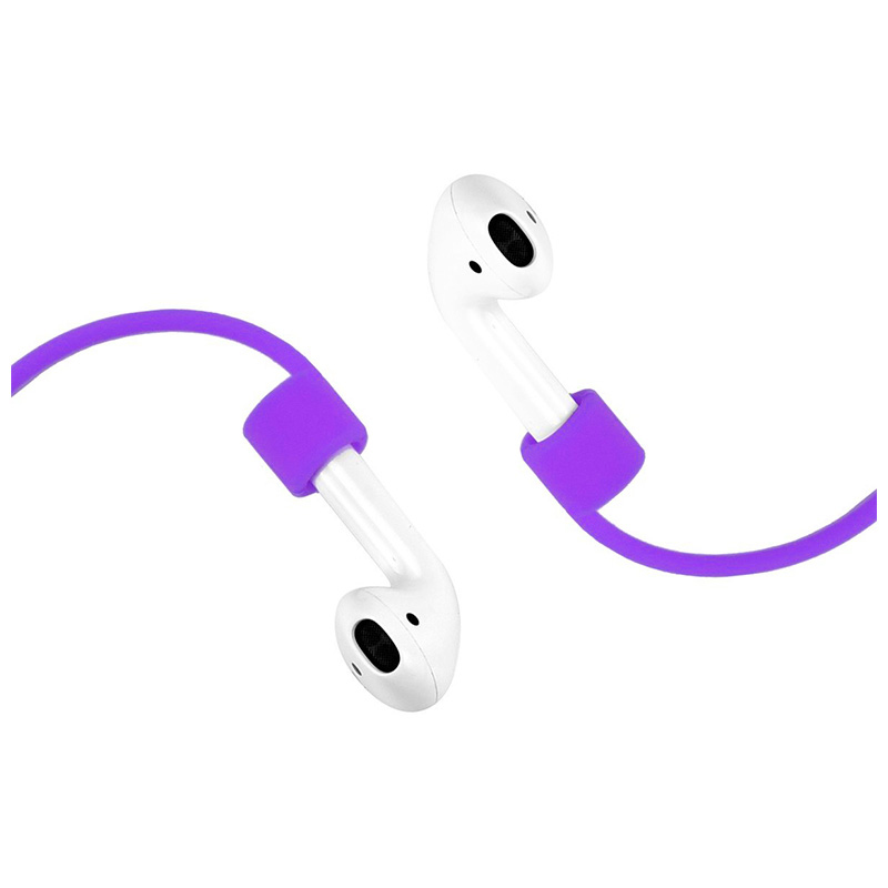 70CM AirPods Silicone Strap Bluetooth Earphone Anti-lost Loop String Rope Connector - Purple