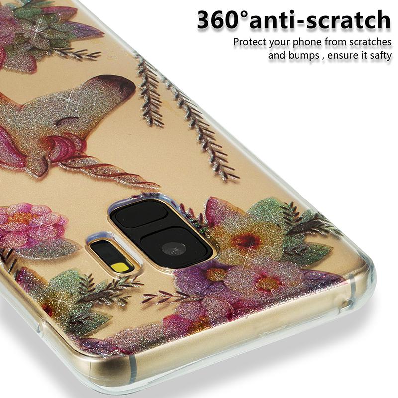 Ultra Thin Bling Glitter Cover Slim TPU Case for Samsung Galaxy S9 - Flower Unicorn