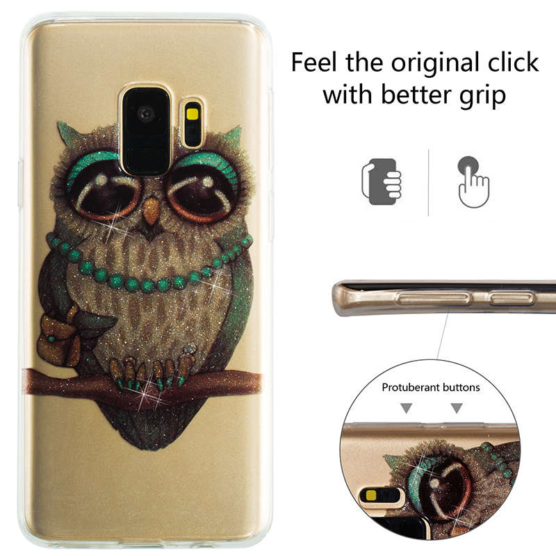 Ultra Thin Bling Glitter Cover Slim TPU Case for Samsung Galaxy S9 - Owl
