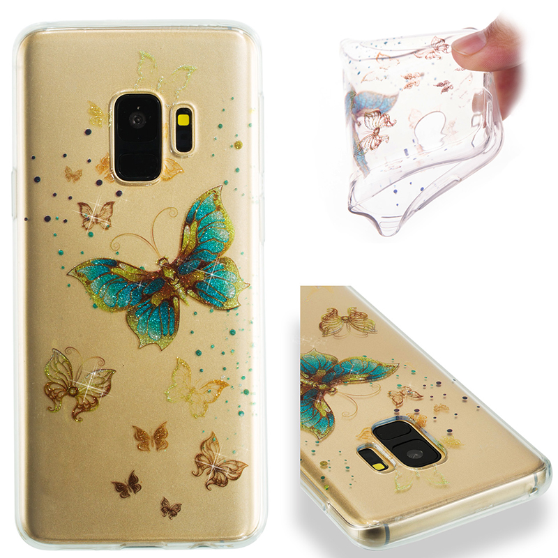 Ultra Thin Bling Glitter Cover Slim TPU Case for Samsung Galaxy S9 - Golden Butterfly