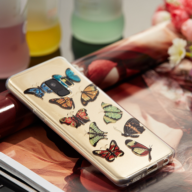 Ultra Thin Bling Glitter Cover Slim TPU Case for Samsung Galaxy S9 - Colorful Butterfly