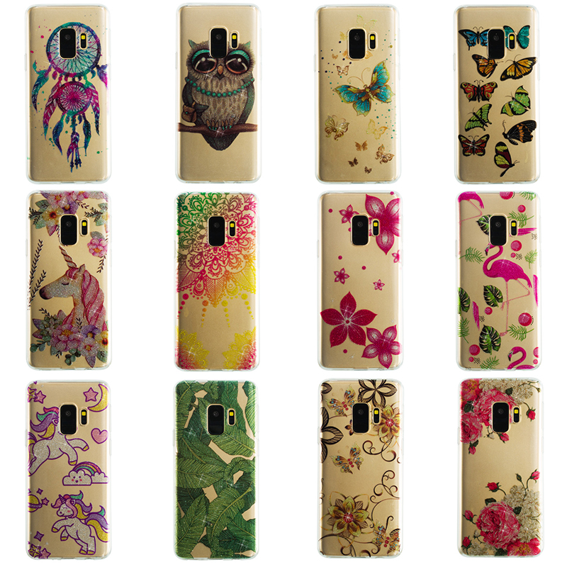 Ultra Thin Bling Glitter Cover Slim TPU Case for Samsung Galaxy S9 - Leaves