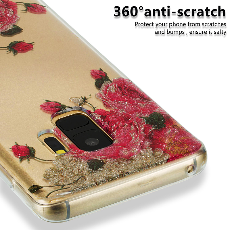 Ultra Thin Bling Glitter Cover Slim TPU Case for Samsung Galaxy S9 - Rose Flower