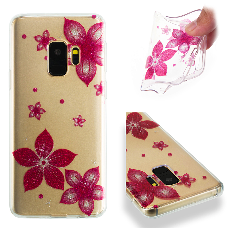 Ultra Thin Bling Glitter Cover Slim TPU Case for Samsung Galaxy S9 - Pink Flower