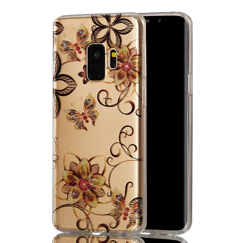 Ultra Thin Bling Glitter Cover Slim TPU Case for Samsung Galaxy S9 - Flower Butterfly