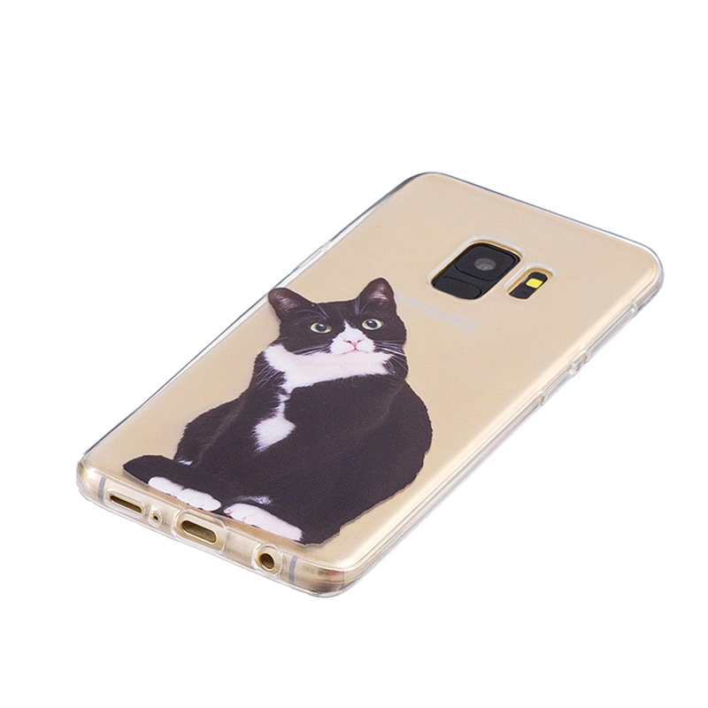 Samsung Printed Rubber Case Soft TPU Protective Phone Cover Shell for Galaxy S9 - Black Cat