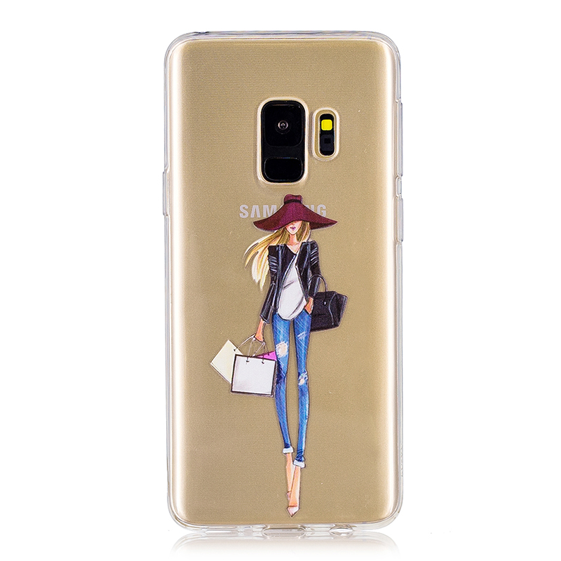 Samsung Printed Rubber Case Soft TPU Protective Phone Cover Shell for Galaxy S9 - Shopping Girl