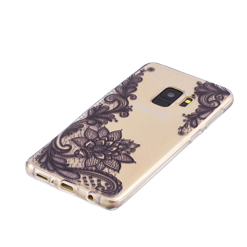 Samsung Printed Rubber Case Soft TPU Protective Phone Cover Shell for Galaxy S9 - Black Flower