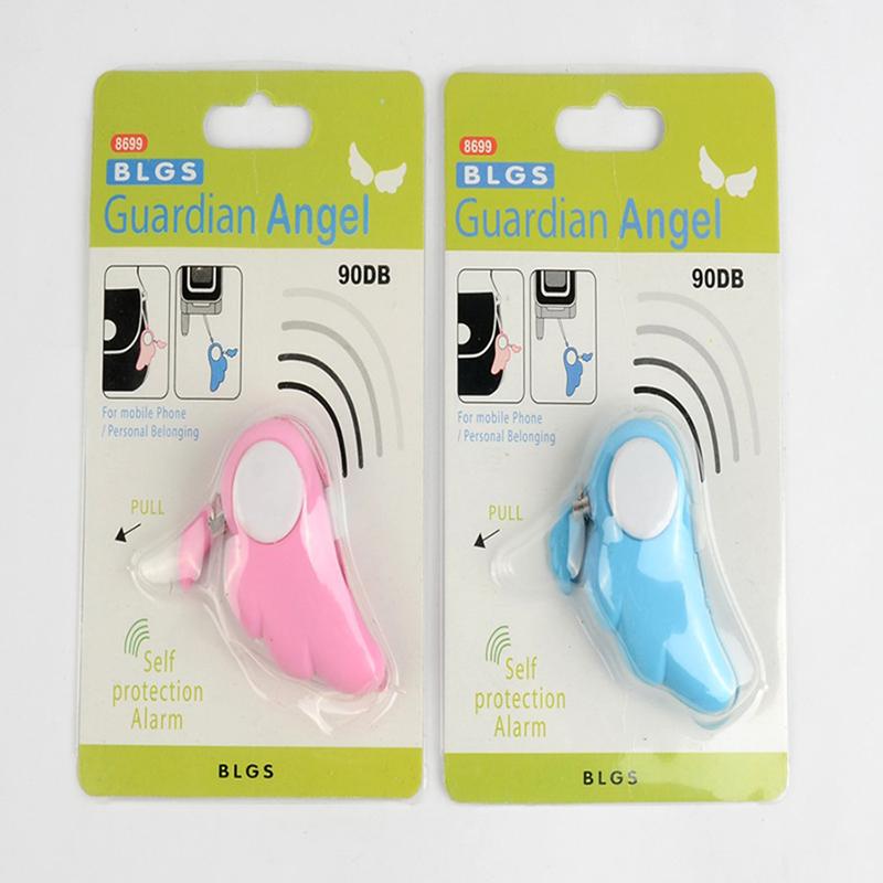 Guardian Angel Wings Emergency Personal Alarm Alerter Key Chain Decoration for Women Kids - Pink