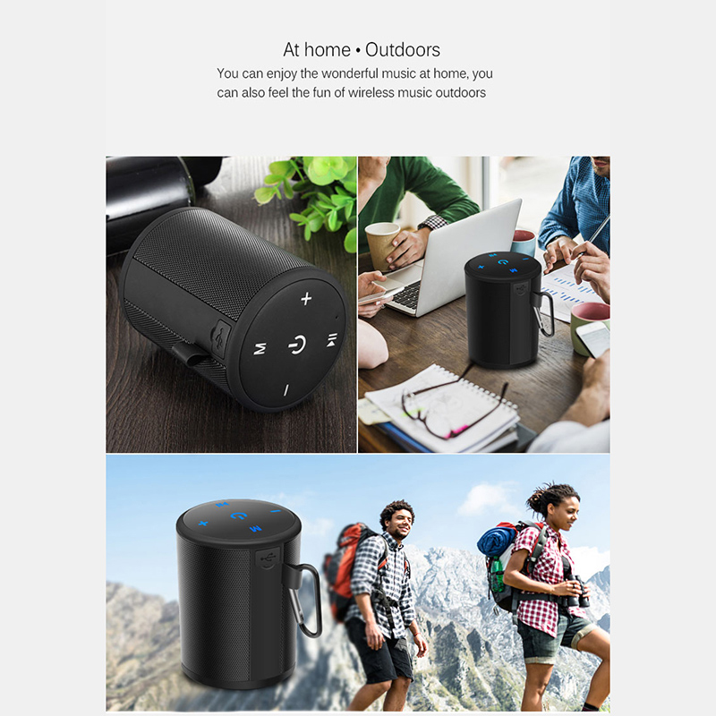 T2 Mini Wireless Bluetooth Speaker Ultra Portable Outdoor Waterproof Music Box - Black