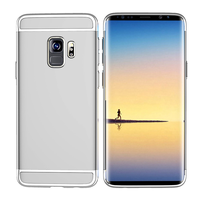 Ultra-Thin Slim 3in1 Luxury Hard PC Protective Case Back Cover for Samsung S9 - Silver