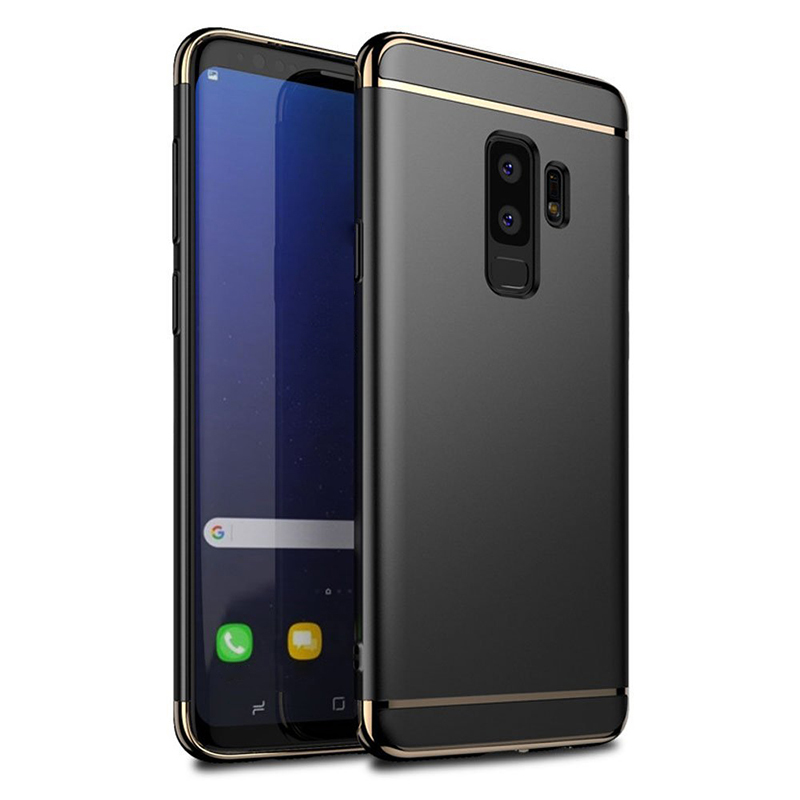 Ultra-Thin 3in1 Metal PC Hard Protective Case Back Cover for Samsung S9 Plus - Black