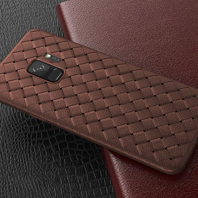 Slim Woven Painting Soft TPU Shockproof Case Back Cover for Samsung Galaxy S9 - Brown