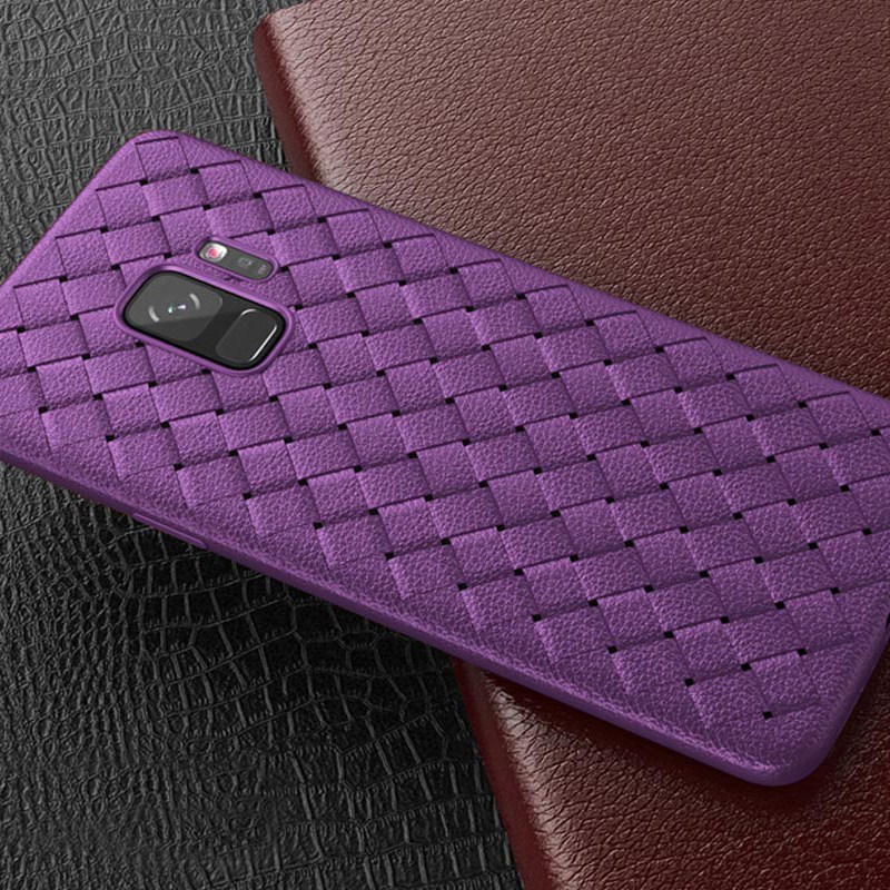 Slim Woven Painting Soft TPU Shockproof Case Back Cover for Samsung Galaxy S9 - Purple