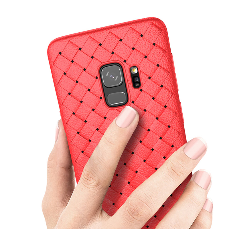Slim Woven Painting Soft TPU Shockproof Case Back Cover for Samsung Galaxy S9 - Red