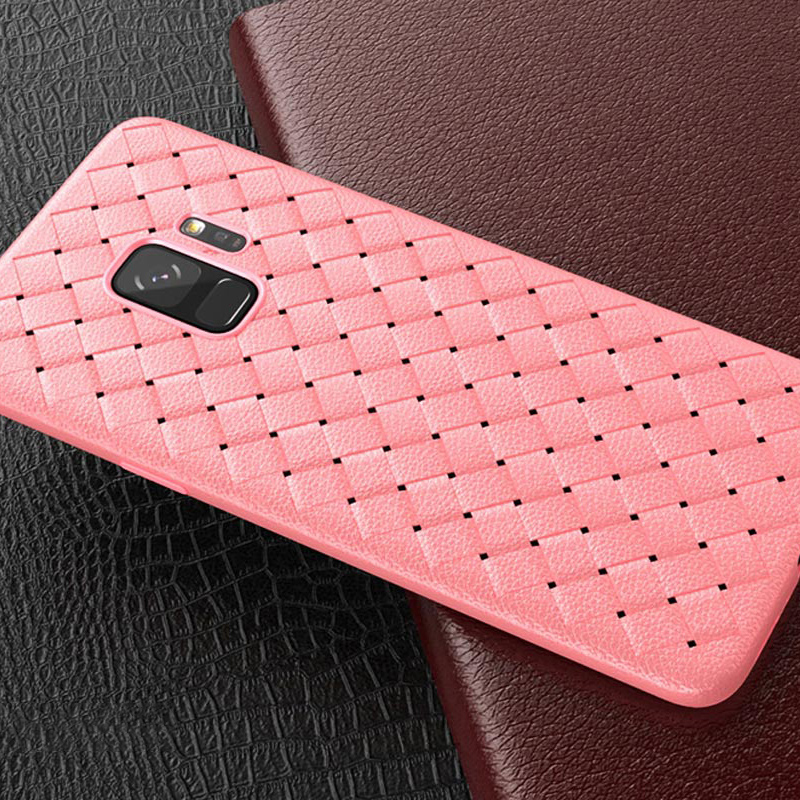 Slim Woven Painting Soft TPU Shockproof Case Back Cover for Samsung Galaxy S9 - Pink