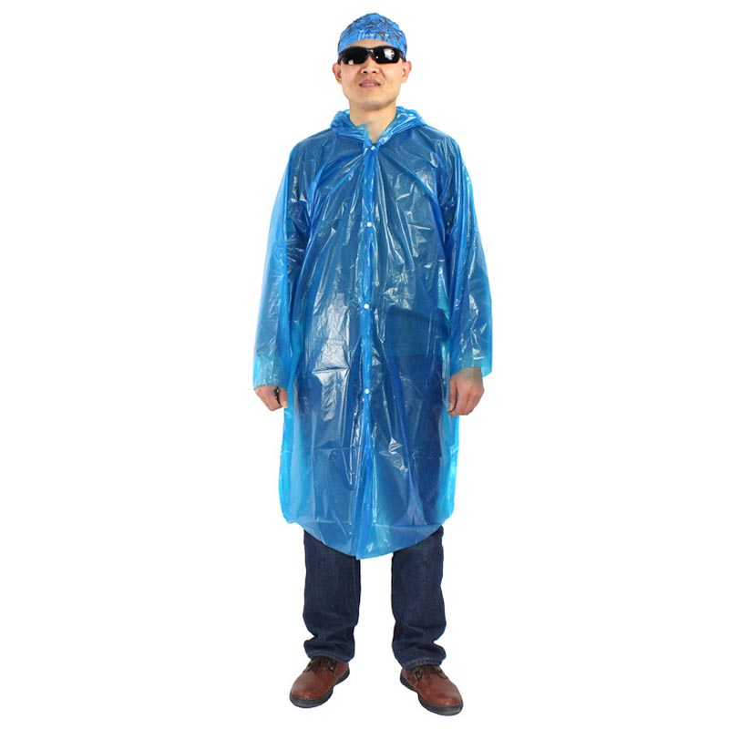 Disposable Adult Emergency Raincoat Clear Waterproof Rain Coat for Hiking Camping - Blue
