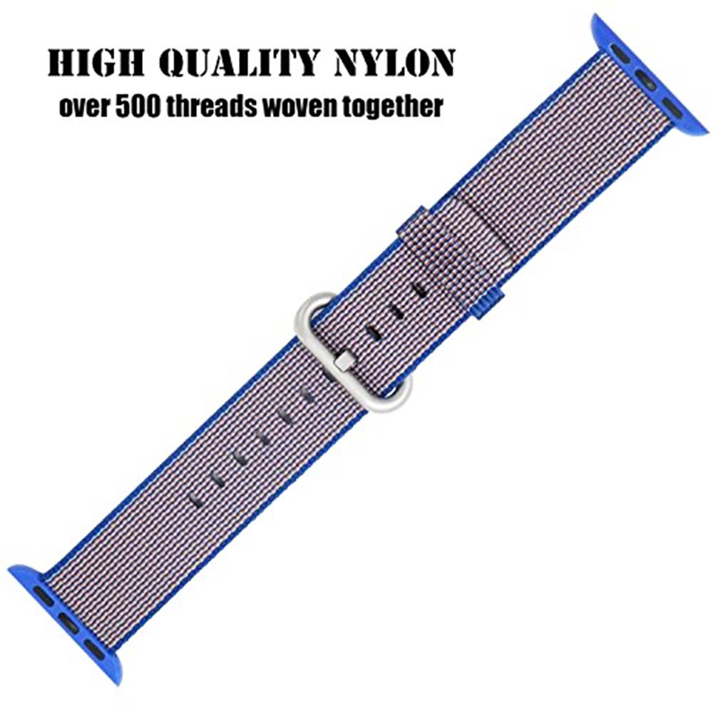 38mm Nylon Woven Braided Watch Band Soft Sports Loop Bracelet Strap for Apple Watch - Royal Blue