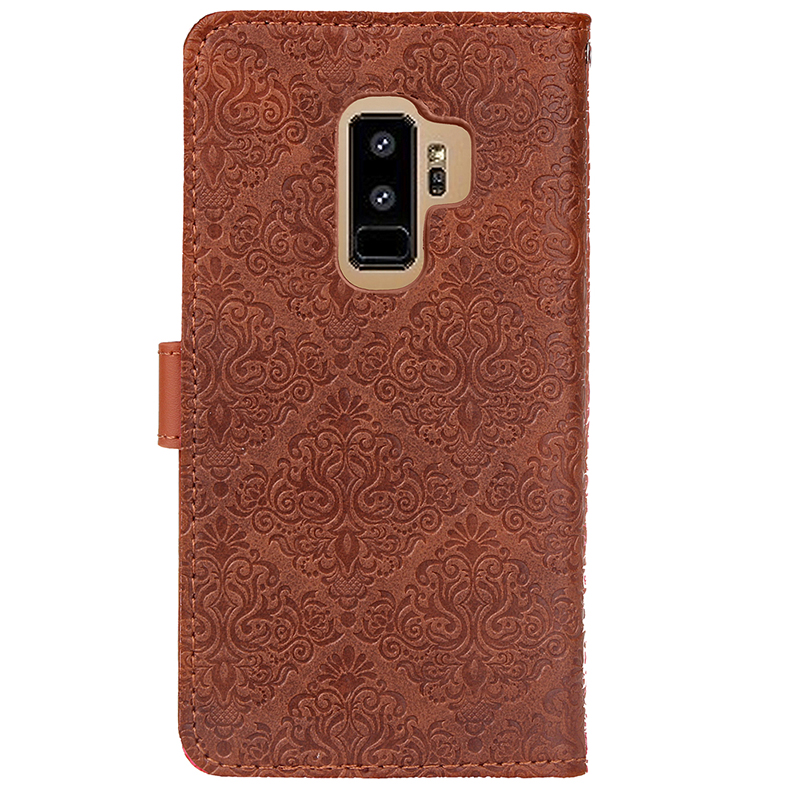 Retro PU Leather Case Magnetic Flip Wallet Card Slot Protective Cover for Samsung S9 Plus - Brown