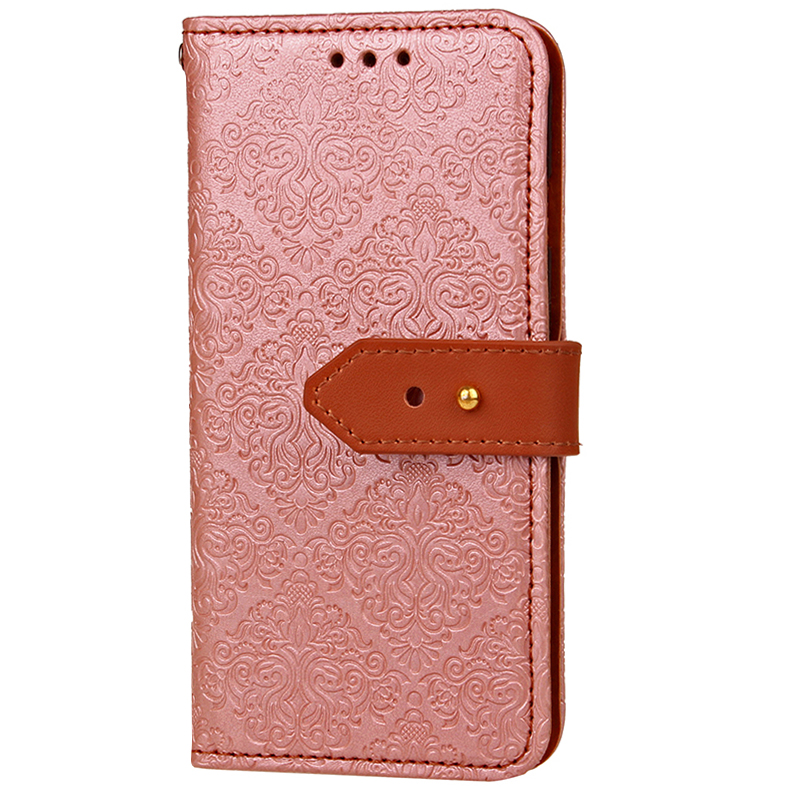 Retro PU Leather Case Magnetic Flip Wallet Card Slot Protective Cover for Samsung S9 Plus - Rose Gold