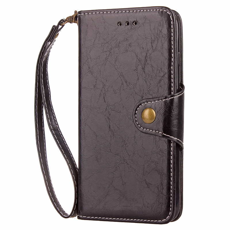 Luxury PU Leather Flip Case Wallet Cover for Samsung Galaxy S8 - Black
