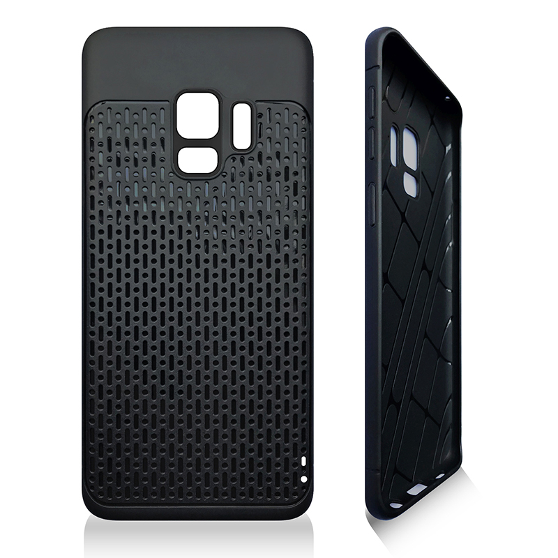 Anti-slip TPU + PC Shockproof Phone Bumper Case Cover for Samsung Galaxy S9 - Black