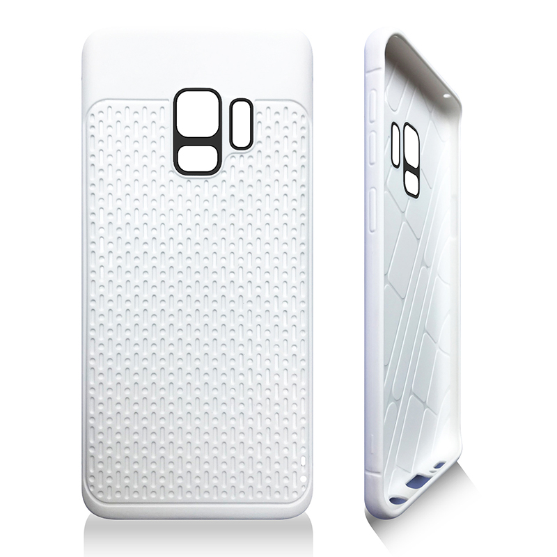 Anti-slip TPU + PC Shockproof Phone Bumper Case Cover for Samsung Galaxy S9 - White