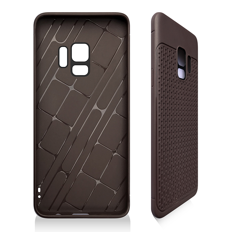 Anti-slip TPU + PC Shockproof Phone Bumper Case Cover for Samsung Galaxy S9 - Brown