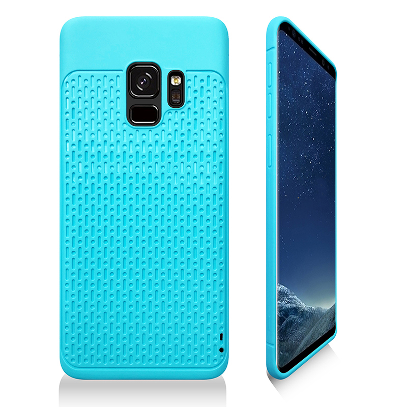 Anti-slip TPU + PC Shockproof Phone Bumper Case Cover for Samsung Galaxy S9 - Light Blue
