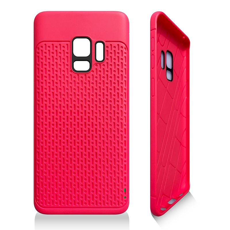 Anti-slip TPU + PC Shockproof Phone Bumper Case Cover for Samsung Galaxy S9 - Rose Red