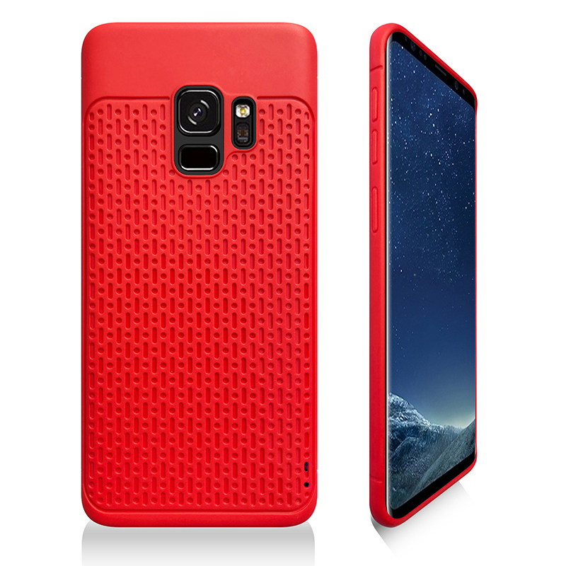 Anti-slip TPU + PC Shockproof Phone Bumper Case Cover for Samsung Galaxy S9 - Red