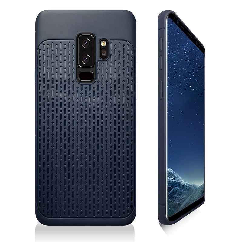 Hybrid Plaid Protective Case TPU + PC Phone Case Cover for Samsung Galaxy S9 Plus - Blue