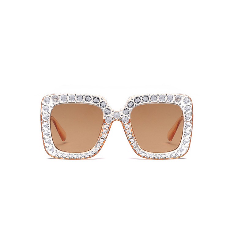 Women's Oversized Square Bling Rhinestone Sunglasses Outdoor Fashion Glasses - Clear + Brown