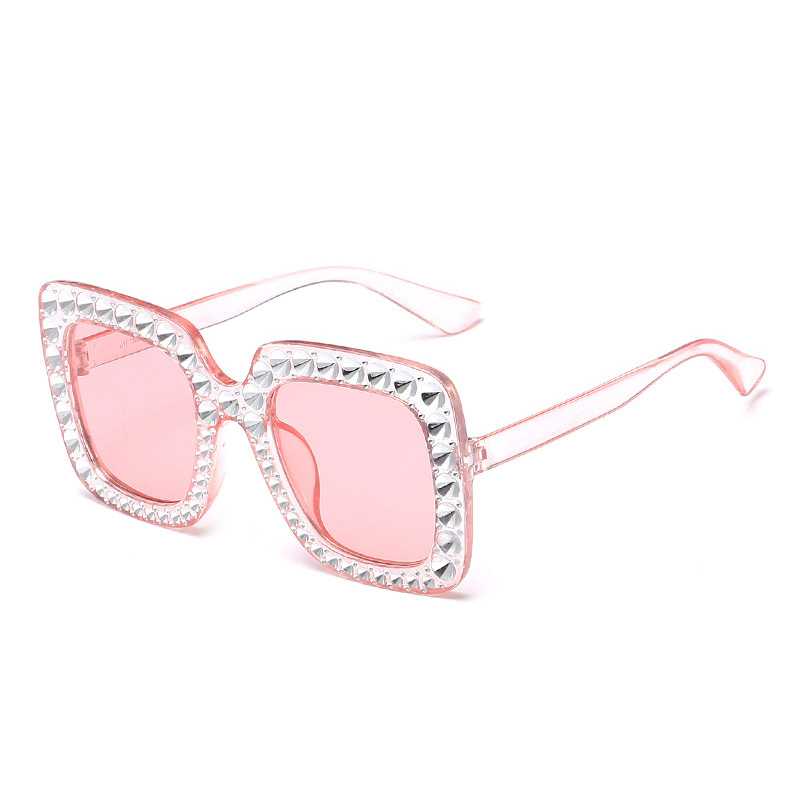 Women's Oversized Square Bling Rhinestone Sunglasses Outdoor Fashion Glasses - Clear + Pink