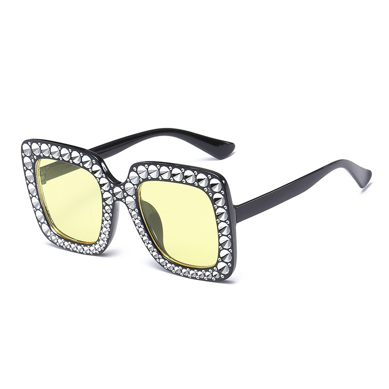 Women's Oversized Square Bling Rhinestone Sunglasses Outdoor Fashion Glasses - Black + Yellow