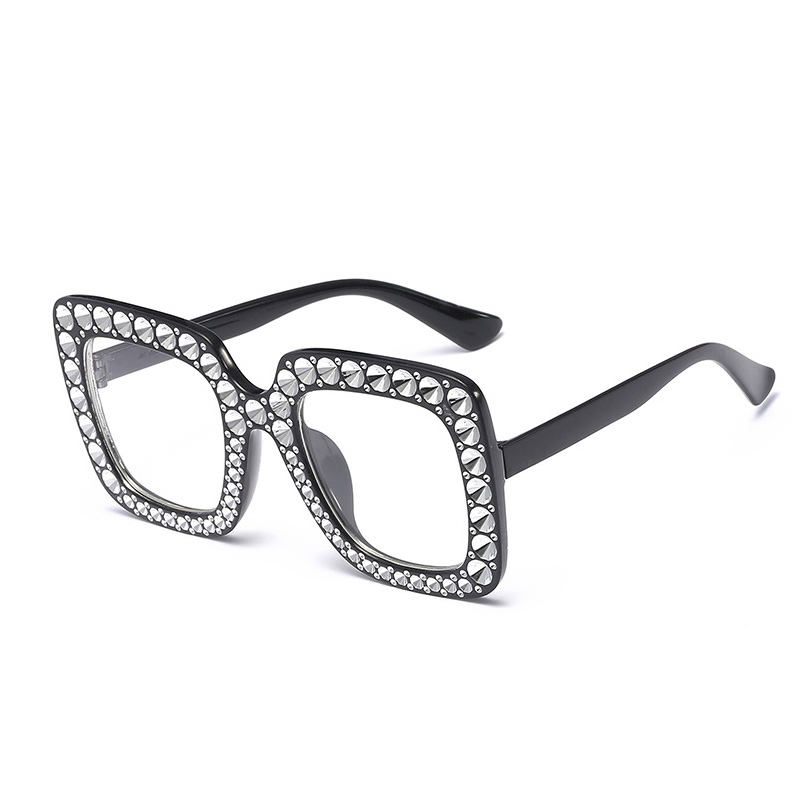 Women's Oversized Square Bling Rhinestone Sunglasses Outdoor Fashion Glasses - Black + White