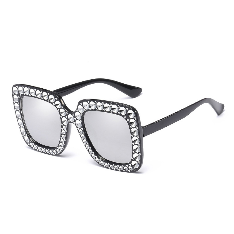 Women's Oversized Square Bling Rhinestone Sunglasses Outdoor Fashion Glasses - Black + Silver