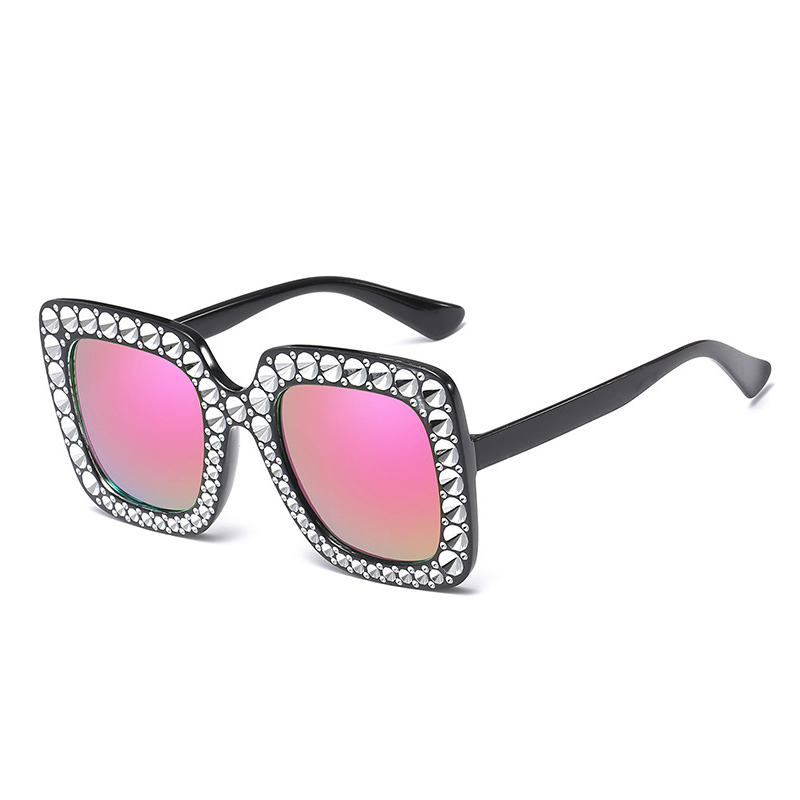 Women's Oversized Square Bling Rhinestone Sunglasses Outdoor Fashion Glasses - Pink + Silver