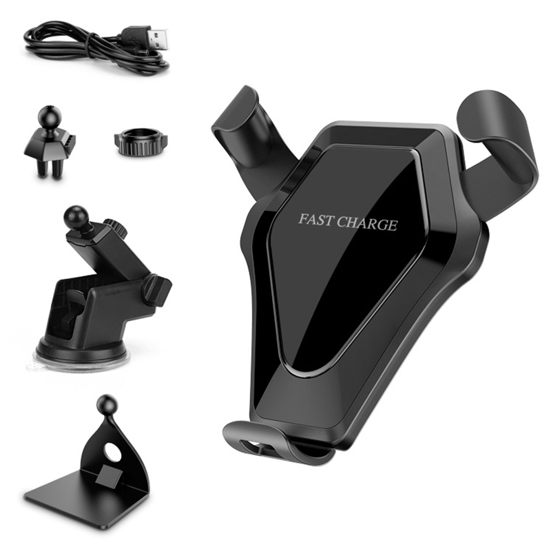 Wireless Car Charger Mount Durable Fast Charge Stand Holder Kit - Bright Black