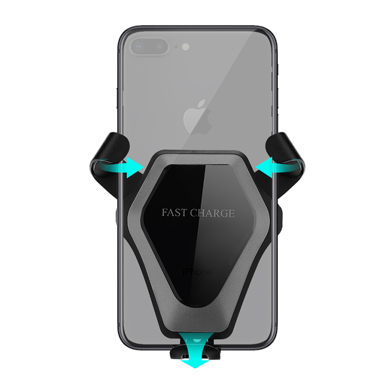 Wireless Car Charger Mount Durable Fast Charge Stand Holder Kit - Grey