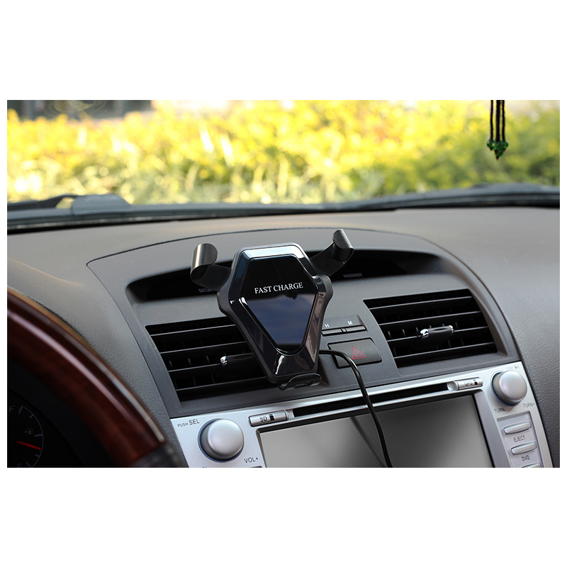 Wireless Car Charger Mount Air Vent Fast Charging Phone Holder Stand - Bright Black